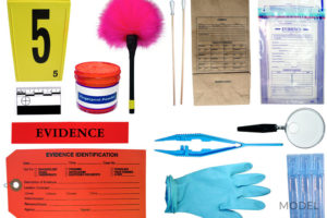 Forensic Evidence from Crime Scene on White Background